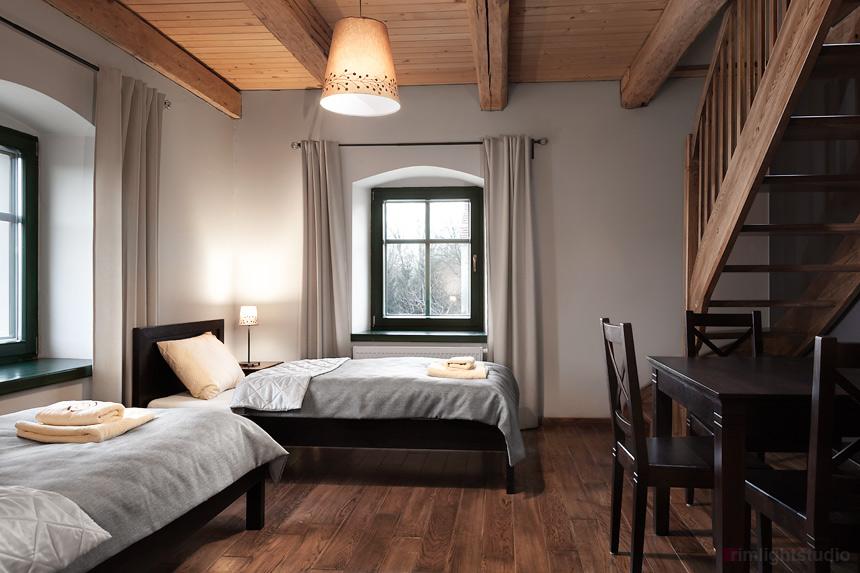 Sypialnia dolna w apartamencie Bergamotka